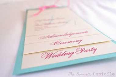 Domestic Domicile's Wedding Program